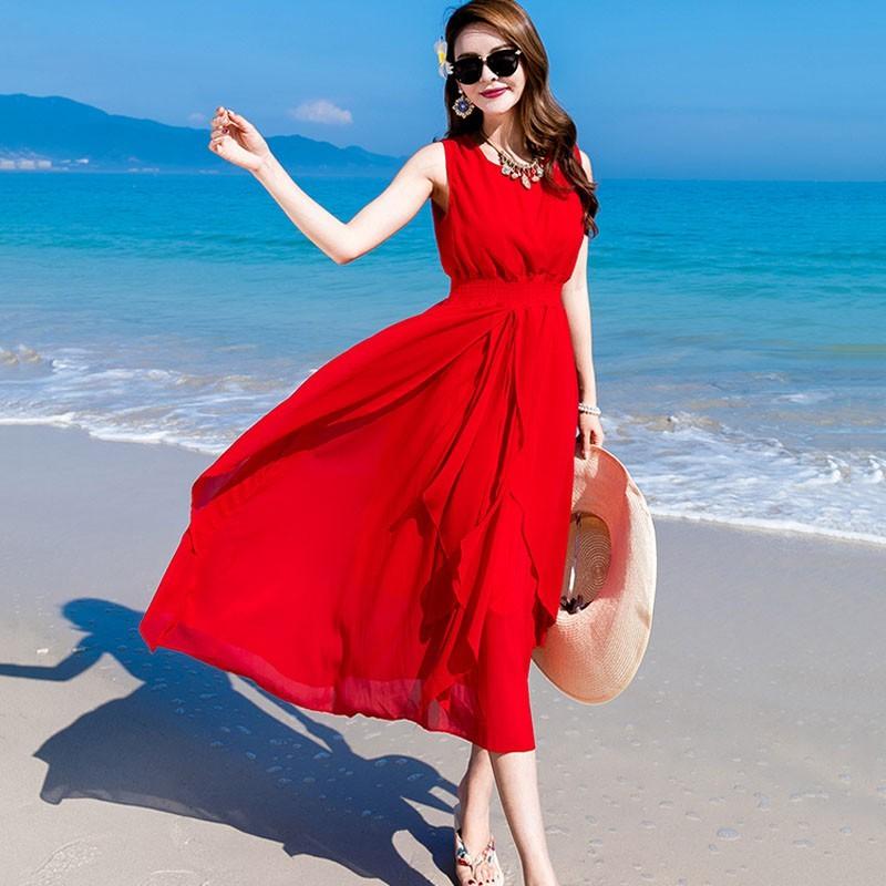 大擺鬆緊腰雪紡波西米亞沙灘度假長款洋裝