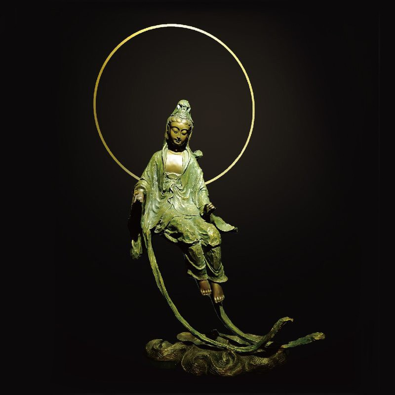 子問限量原作銅雕 水月悠揚 水月觀音(觀世音菩薩) -限量件數36 附作品典藏證明書16.5kg 47x23x86