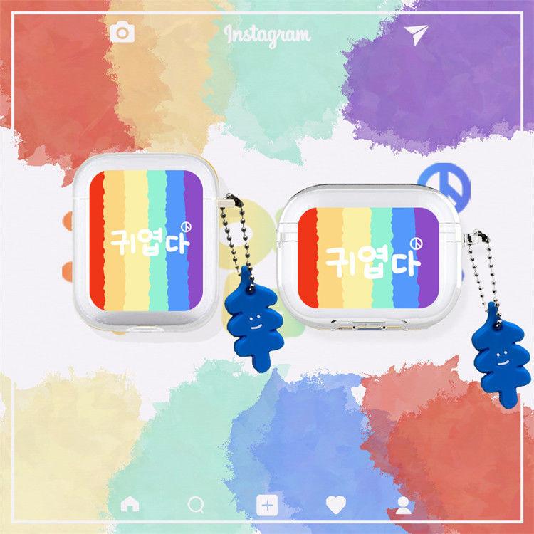 【現貨熱銷】Airpods保護套 漸變藍幾何Airpods Pro藍芽耳機防摔套 蘋果無線藍牙耳機Airpods2保護套