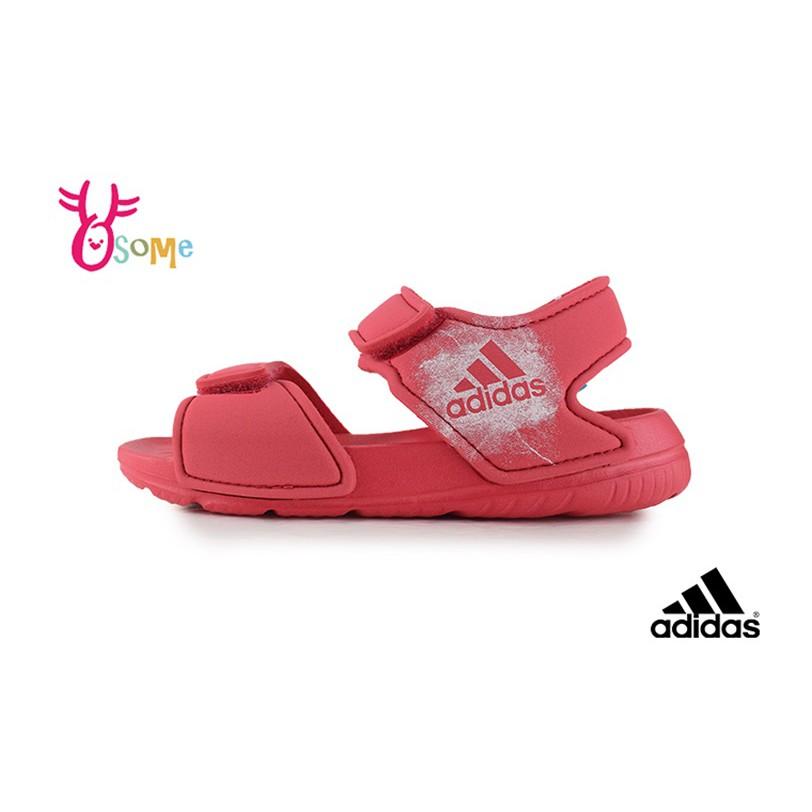 adidas童涼鞋 愛迪達涼鞋 防水涼鞋 兒童涼鞋 寶寶涼鞋 輕量 女童涼鞋 R9338 橘紅 OSOME奧森鞋業