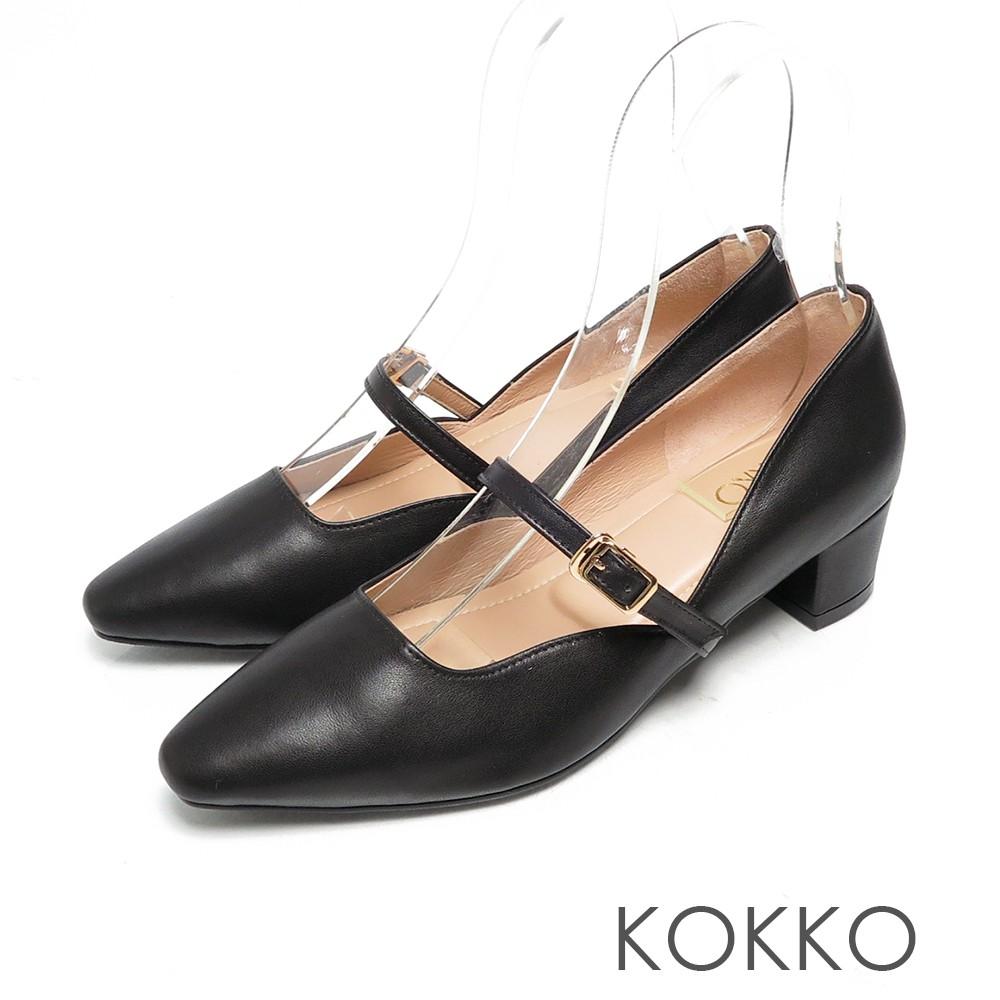 KOKKO優雅瑪莉珍柔軟羊皮繫帶粗跟鞋經典黑
