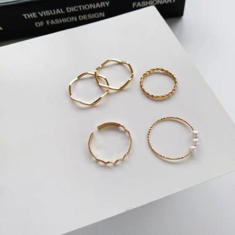 ♡現貨ㄧ組 歐美 復古 誇張 戒指 創意款 個性 幾何 時尚 珍珠