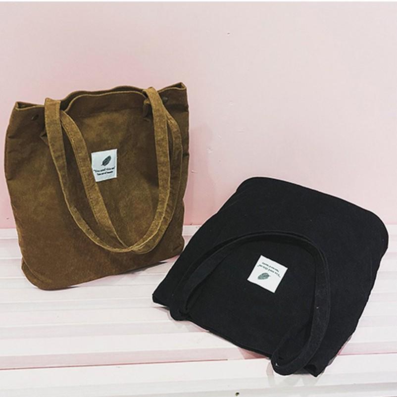 8色選 現貨素色燈芯絨大容量 森女系帆布包包肩背包文清提袋購物手提袋肩背袋書包水桶包 單肩包燈芯絨 斜背側背包