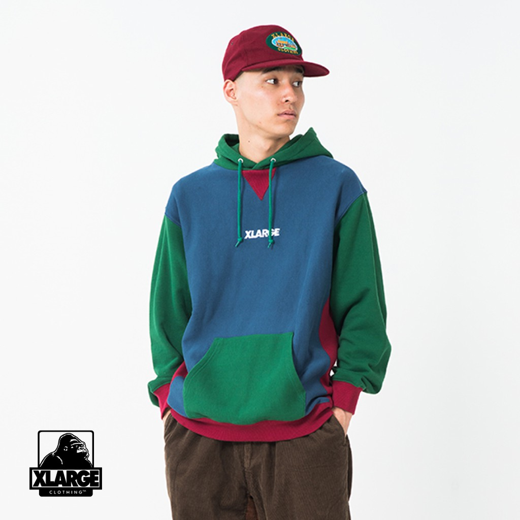 XLARGE PANELED PULLOVER HOODED SWEAT 拼接色帽T 101203012002