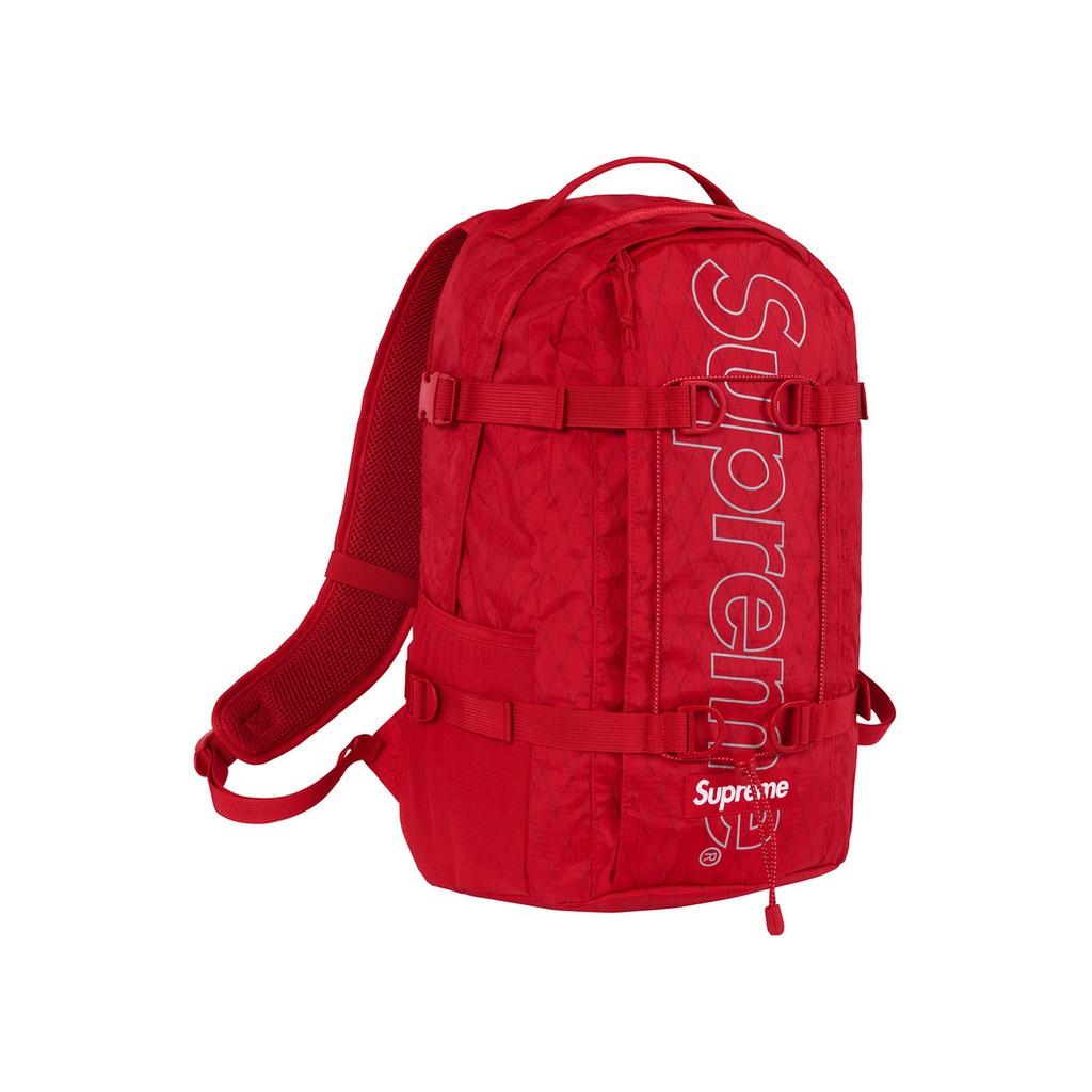 化學原宿 Supreme FW18 Backpack 45th 菱格 後背包 (紅)