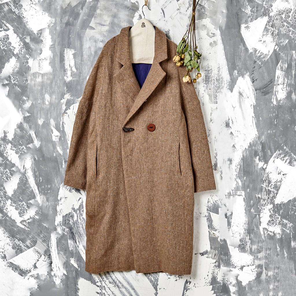 花紗毛料斜開襟牛角單釦大衣 兩色