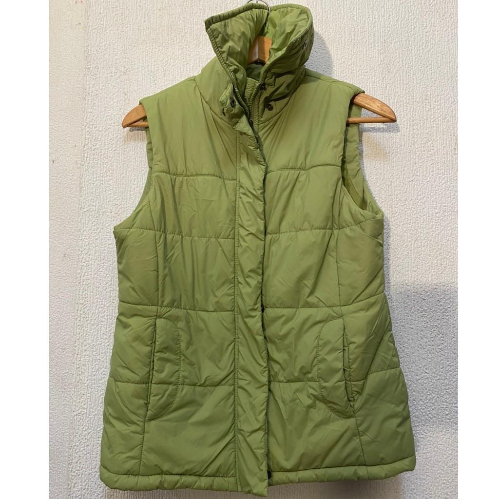 Bossini綠色無袖背心 羽絨鋪棉背心  高翻領保暖背心 二手男裝 尺寸M