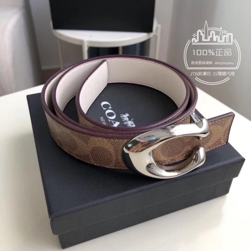 折扣款 全新正品 COACH 31114 女用皮帶 CC LOGO 棕色 PVC帆布銀釦 ladies belt