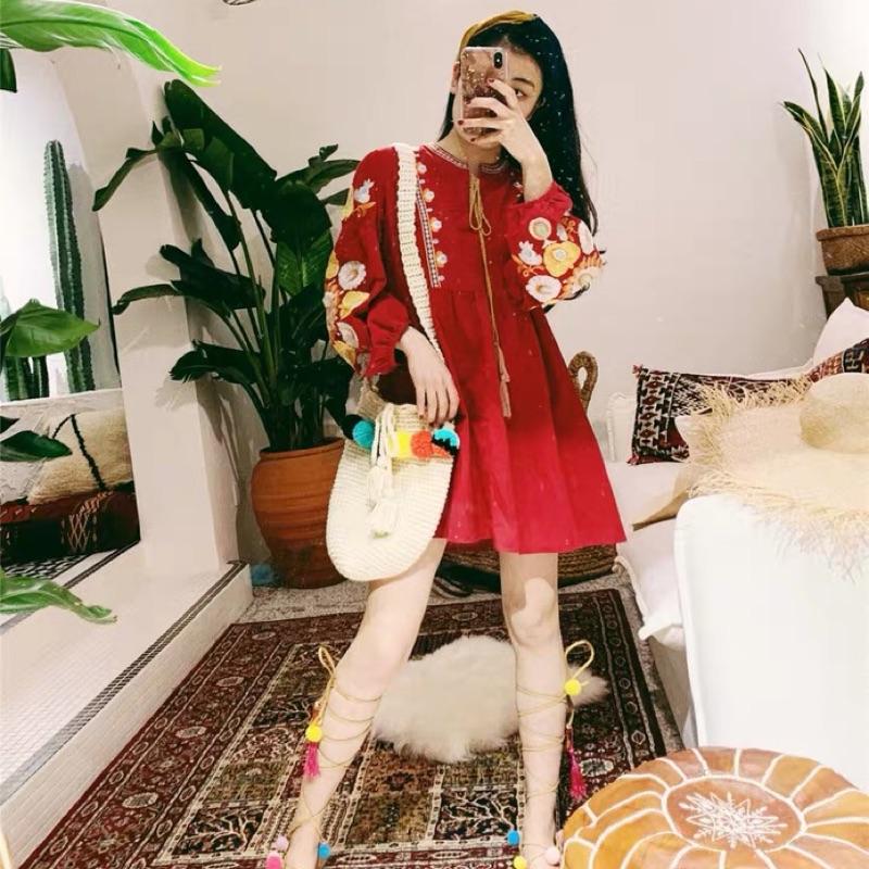 #Gmxxxx波西米亞紅色刺繡綁帶度假洋裝【D06999】