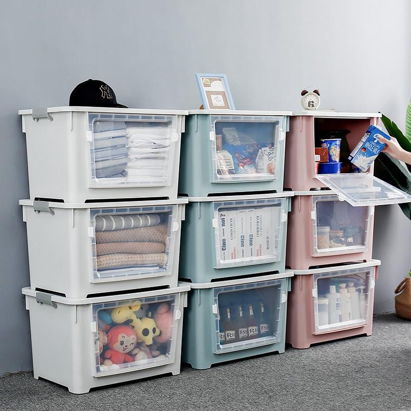 日式斜口收納箱前開式玩具收納箱兒童零食收納盒塑料特大號衣服整理箱翻蓋儲物箱