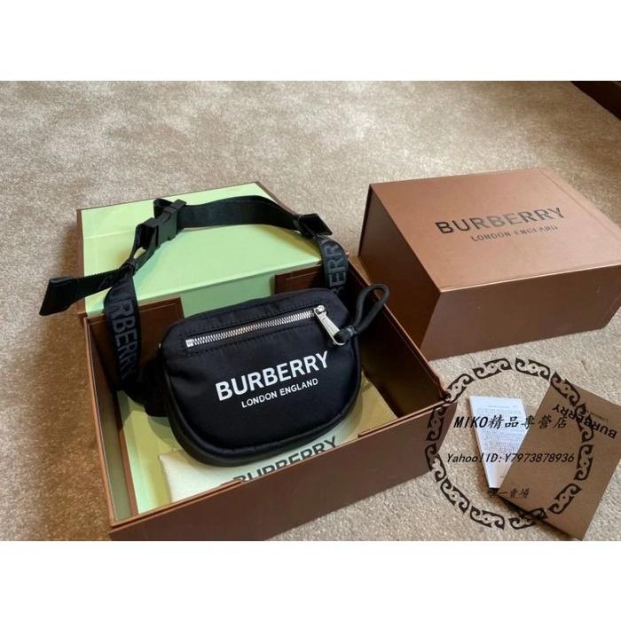 MIKO二手精品 Burberry 博柏利 字母logo 相機包 斜挎包 腰包 胸包 小號 黑色 80210911