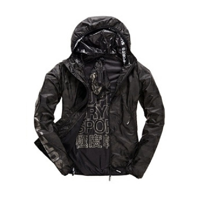 Superdry 極度乾燥 黑色輕型運動夾克/訓練外套/防風外套/運動外套/SPORT/訓練裝備衣/M50701PO零碼