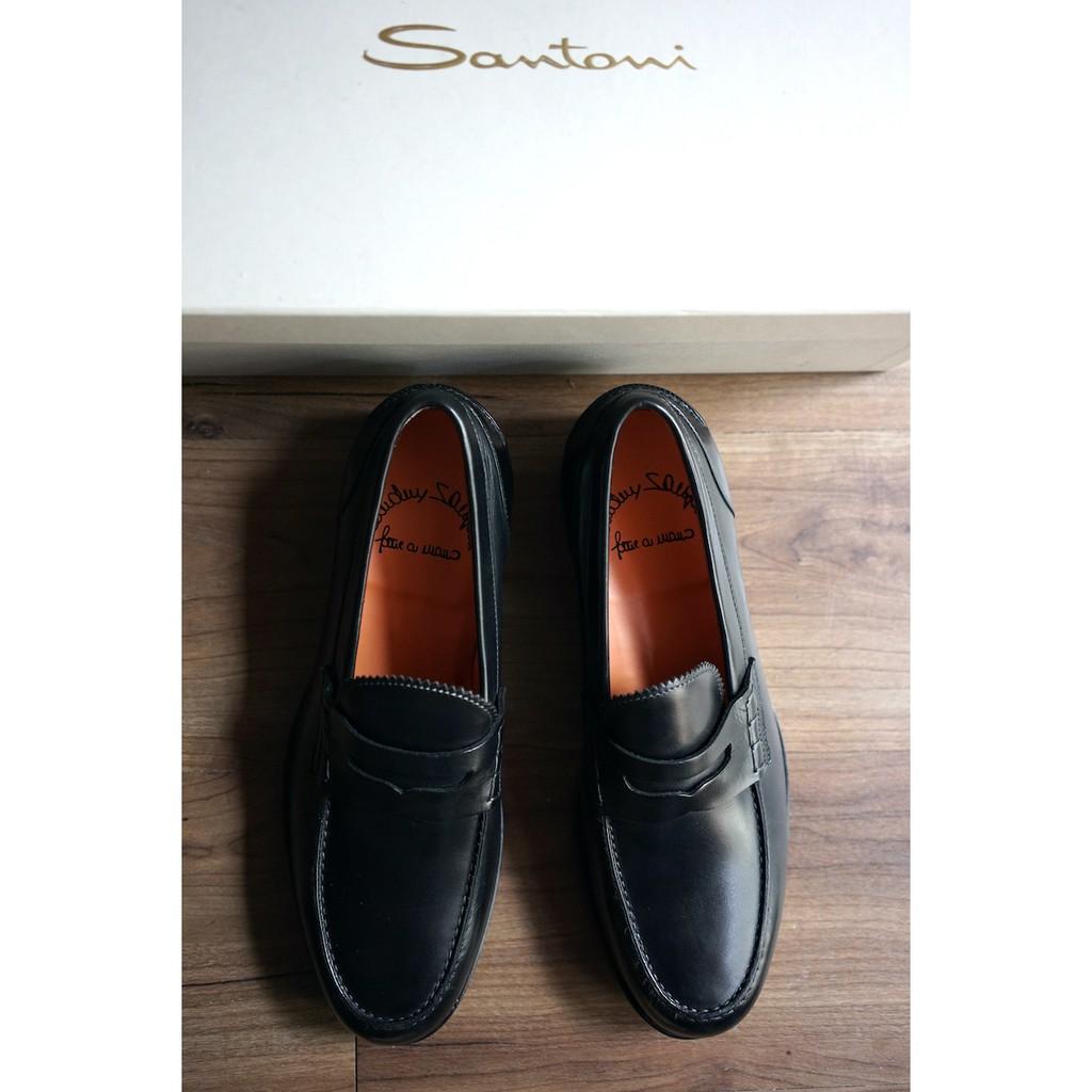 Santoni 義大利頂級純手工製 黑 樂福鞋 UK6.5 / US7.5 / EU40.5 F楦頭 Loafer