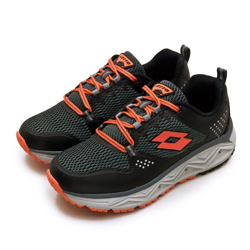 【LOTTO】專業郊山戶外透氣越野跑鞋 AEROVE系列 黑灰橘 3000 男