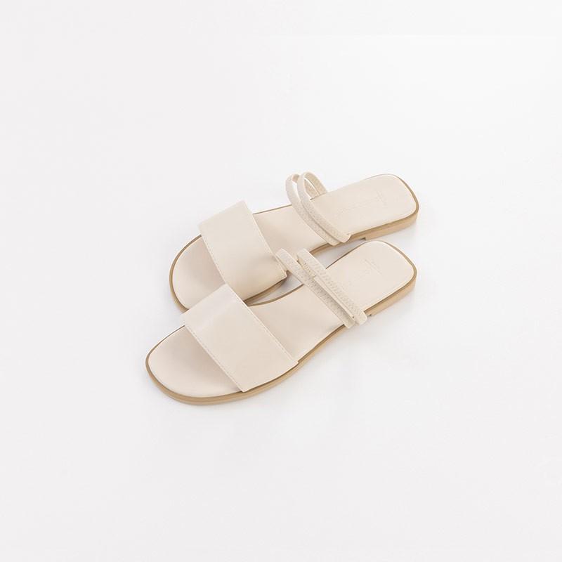 QUEENSHOP_ S 簡約皮革寬版兩穿涼鞋 三色售 36~40 現+預【05030210】