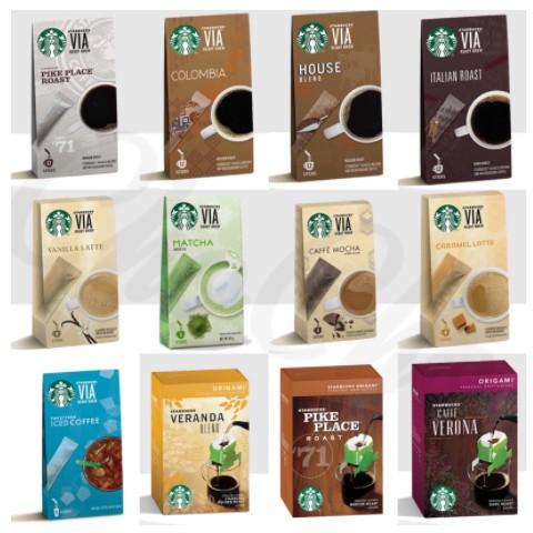 星巴克 via 風味即溶 禮盒 焦糖   摩卡 香草 抹茶 福吉茶 掛耳式咖啡 派克市場 哥倫比亞 家常 咖啡卷買一送一