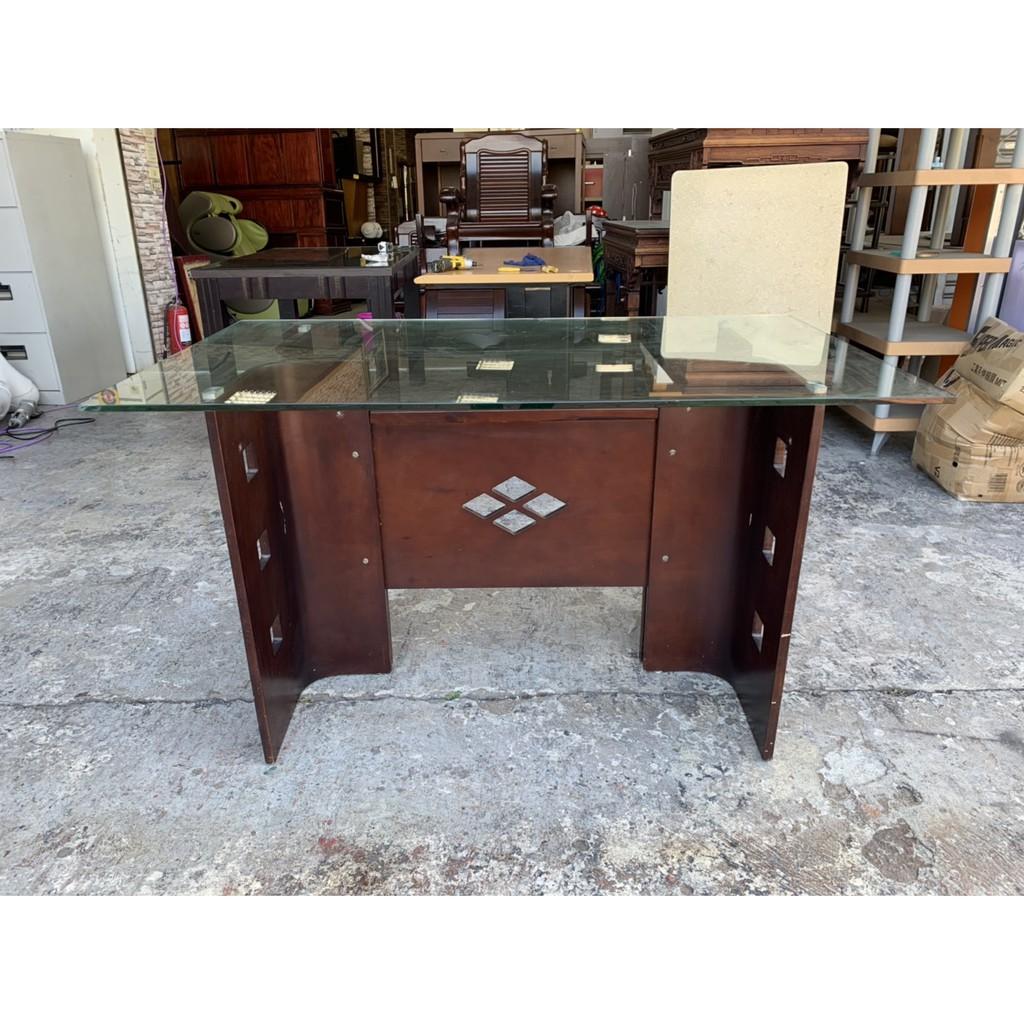 香榭二手家具*胡桃木造型4.5尺 玻璃大餐桌-吃飯桌-餐廳桌-會議桌-工作桌-簽約桌-火鍋桌-洽談桌-長方桌-中古休閒桌