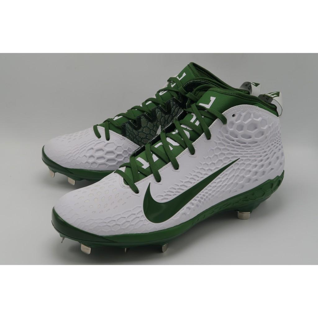 美規 Nike Force Zoom Trout 5 白 綠 棒球 金屬釘 釘鞋 AH3373-133
