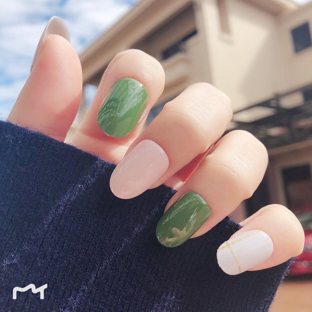 指甲貼片 NJ014 粉嫩甜美日系美甲貼片 假指甲成品圓頭全貼修長手指【買1送5配件】