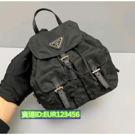 EUR二手正品Prada普拉達 黑色尼龍mini雙肩包/後背包/斜挎包/肩背包