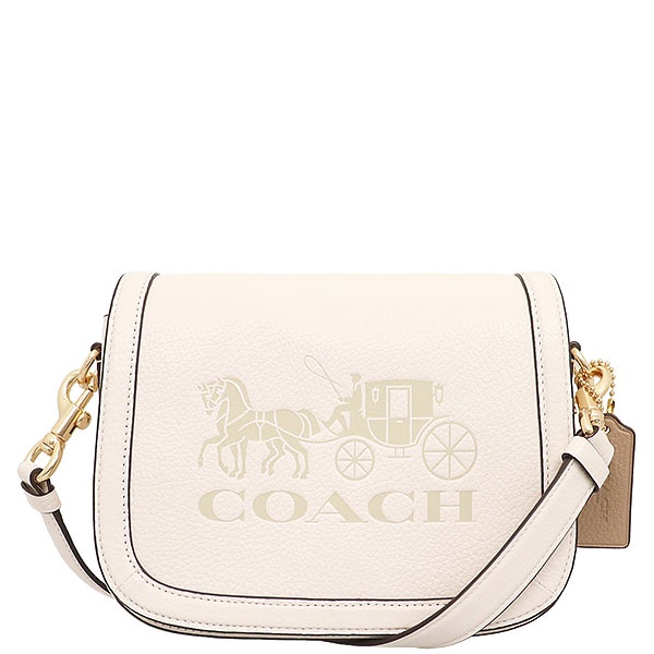 【美麗小舖】COACH C4058 白色 荔枝紋真皮皮革 斜背包 馬鞍包 側背包-全新真品現貨在台