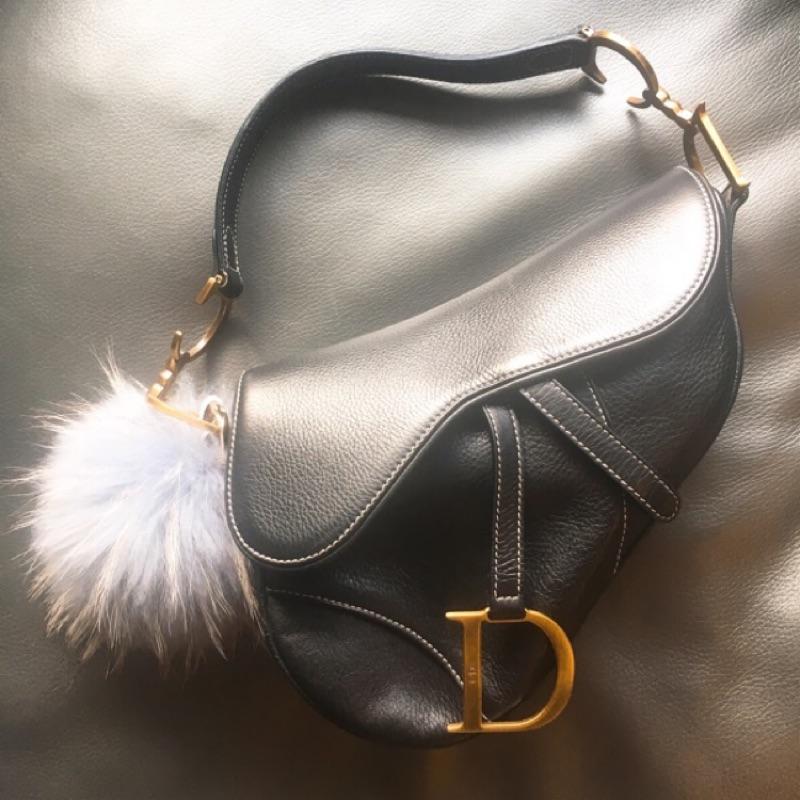 Christian Dior Saddle bag CD正品黑色全皮馬鞍包