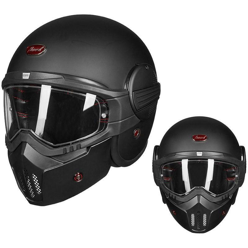 全罩式安全帽新品BEON個性酷摩托車揭面盔玻纖維復古哈雷頭盔男女防霧全盔四季