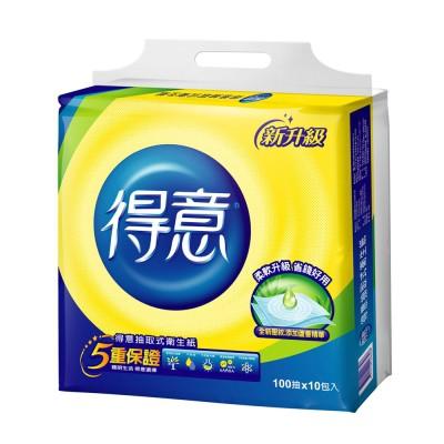 【免運費-請先詢問庫存】得意連續抽取式花紋衛生紙100抽 x70包/箱