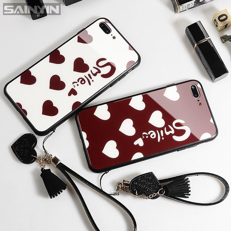 ஐ❁適用華為nova8se 6se 5t 7pro 8i nova4 3i愛心smile玻璃手機殼