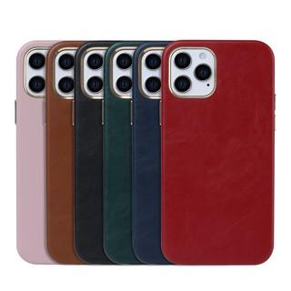 蘋果iphone12手機殼真皮i11 Pro xs max超薄皮套xr i8 6plus金屬按鍵皮套 全包防摔保護殼