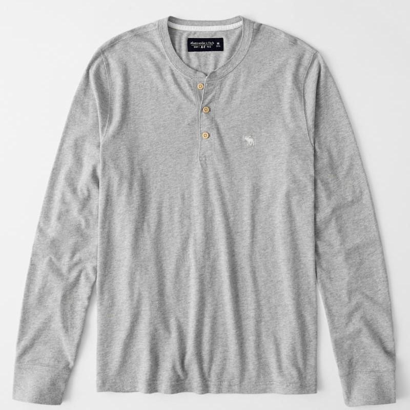 Abercrombie & Fitch 大學T 長袖T恤 純棉上衣 亨利領長袖 A12423 灰色AF(現貨)