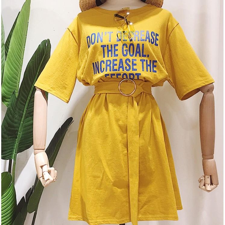 五分袖字母休閒運動洋裝-4色