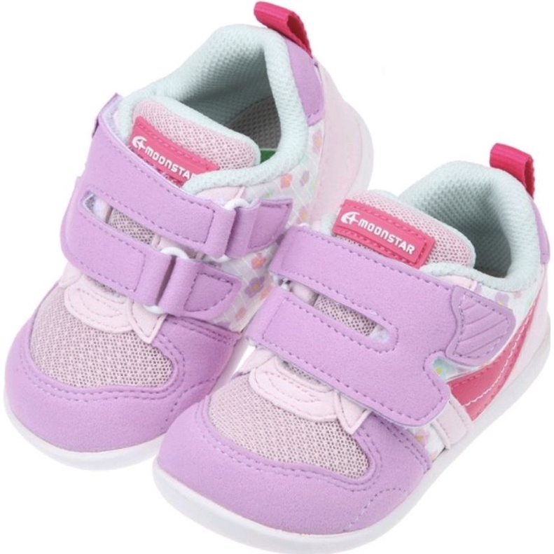 【全新】Moonstar日本Hi系列粉花色寶寶機能運動鞋(13公分) 學步鞋 寶寶鞋 女童 月星