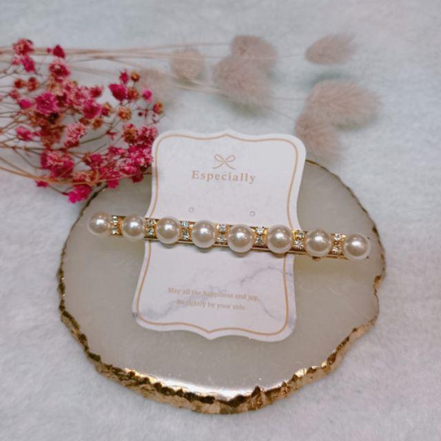 韓國鑲鑽珍珠仙女髮夾/鴨嘴夾