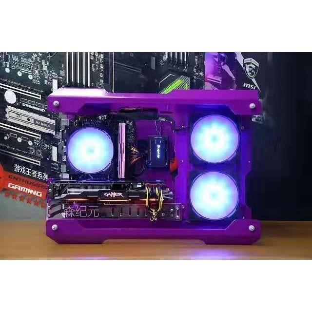 【電腦主機殼】機箱個性游戲電競電腦主機粉色matx骨架個性透明外殼顏色定制