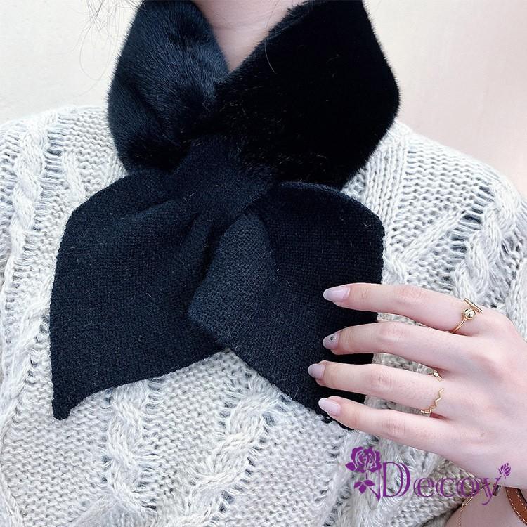 【Decoy】兔毛蝴蝶 保暖交叉針織脖圍圍巾 2色可選