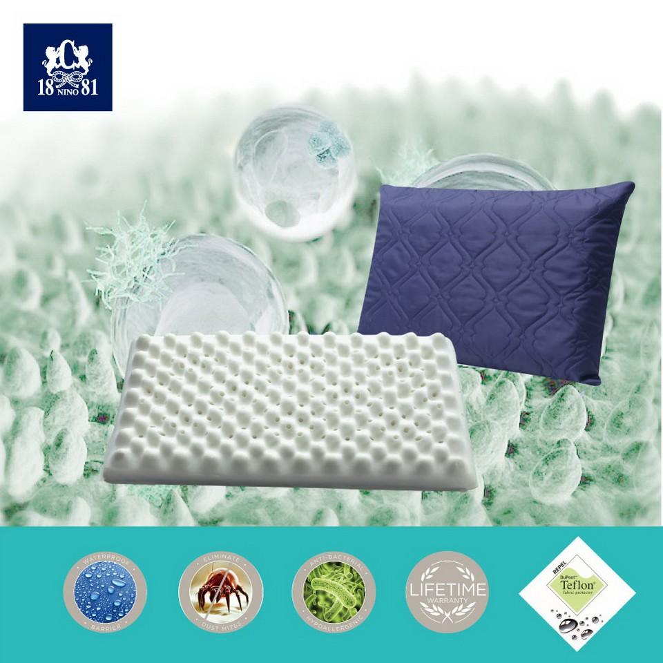 NINO1881杜邦五級防潑水保潔釋壓乳膠枕組-2入