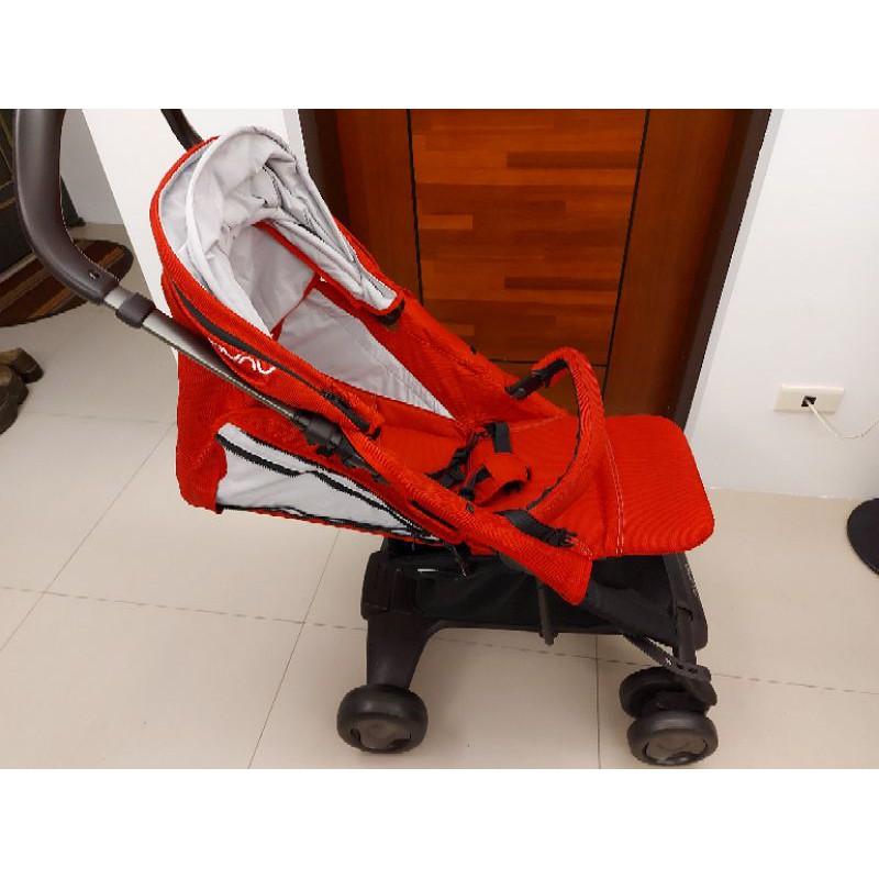 9成新 Nuna Pepp Luxx紅色手推車 可平躺(贈送雨罩及蚊帳)