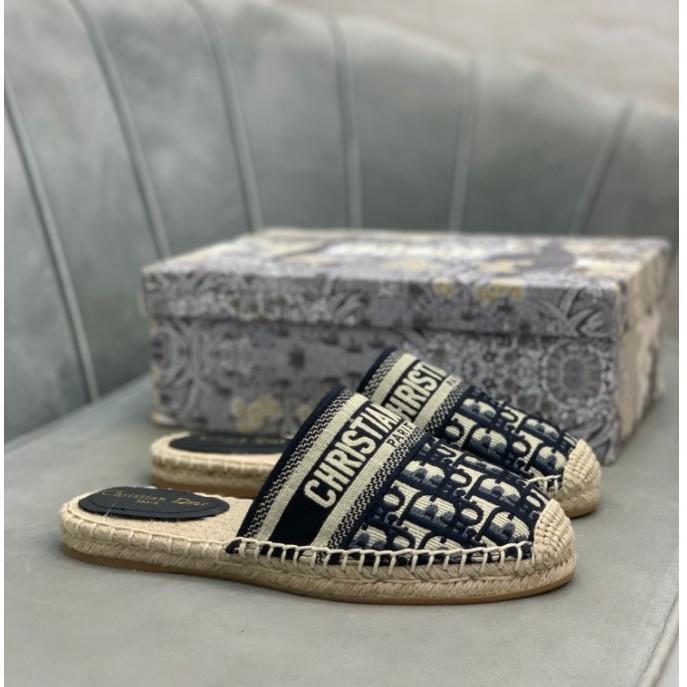 Dior CD 字母刺繡漁夫鞋/半拖/懶人鞋/涼鞋 經典花紋 深藍 現貨