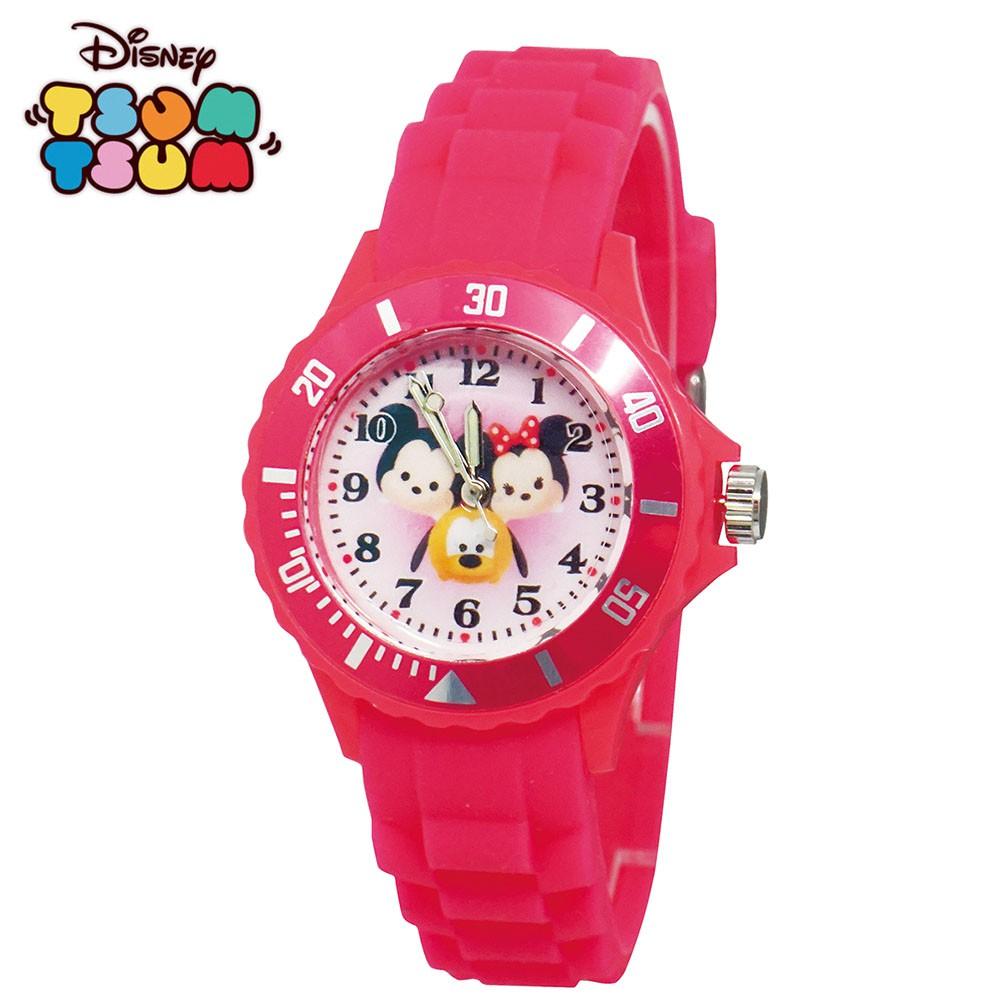 【迪士尼】 TsumTsum米奇米妮布魯托 運動彩帶兒童手錶_桃紅 正版授權 兒童手錶