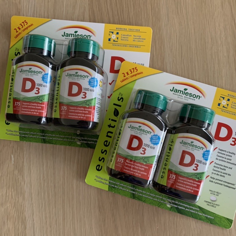 Jamieson 健美生 D3 維生素D3 加拿大好市多代購 兩瓶裝  1000IU 每瓶375錠 維他命D3