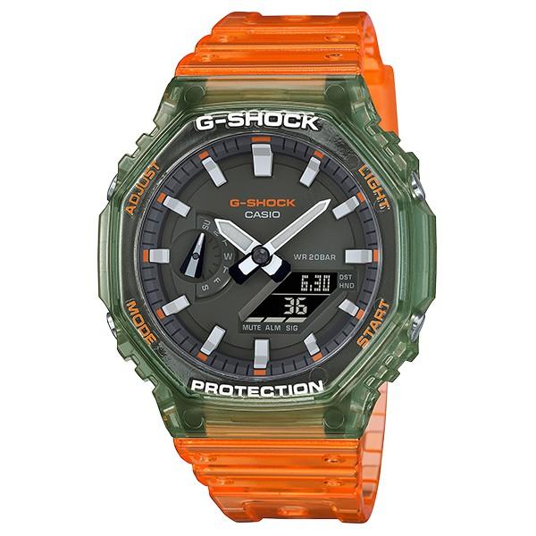 【CASIO】G-SHOCK 農家橡樹 透明綠橘撞色 現貨 GA-2100HC-4A 台灣卡西歐公司貨 高雄名人鐘錶