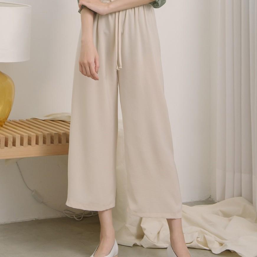 【MiROO】綁帶鬆緊寬褲 (綠/藍/黑/杏)