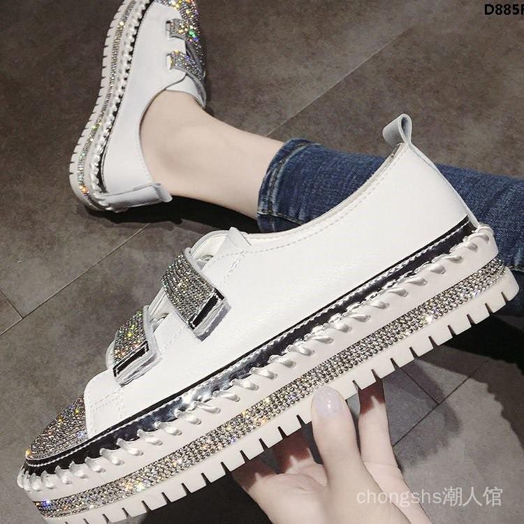 2021一腳水貼學平底女鞋鑽小白鞋夏季百搭蹬新款魔術單鞋女生厚底´