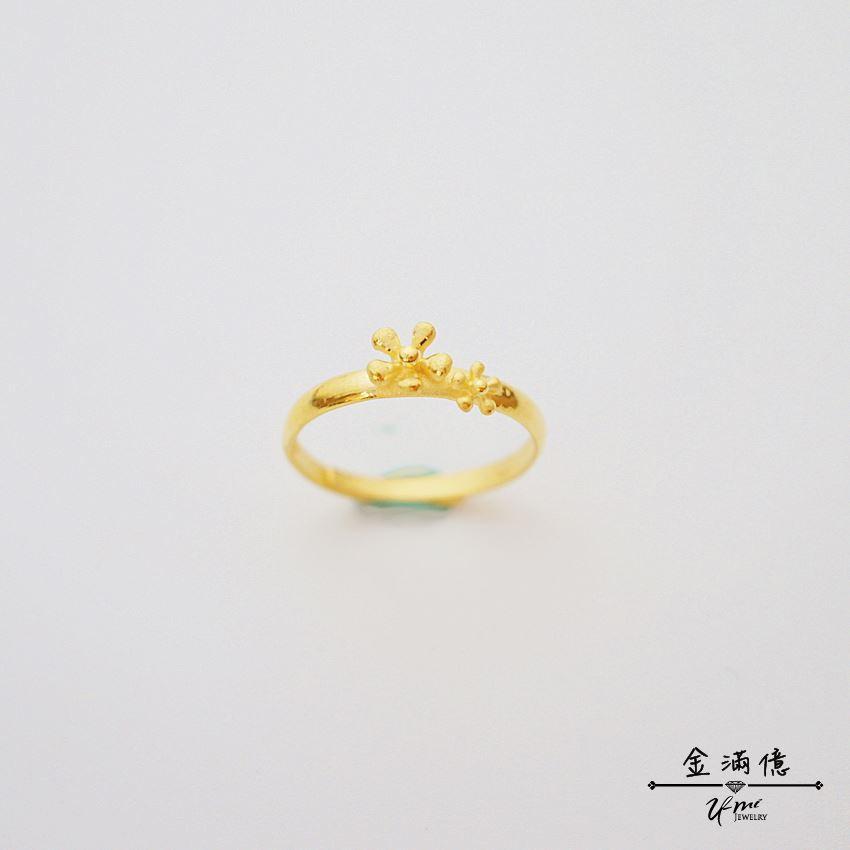 純金戒指【大花小花】黃金女生戒指 當尾戒也適合 9999純金