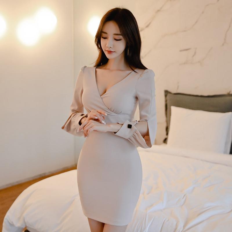 交叉深V領正韓洋裝破袖長袖簡約短洋裝合身顯身材尺碼連衣裙宴會小禮服