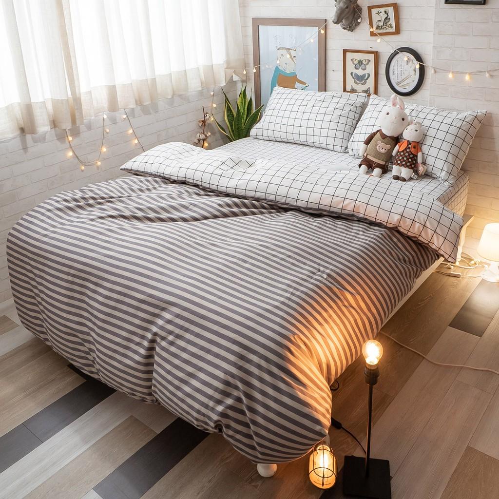 格子兒 床包組 四季磨毛布 北歐風 台灣製造 棉床本舖