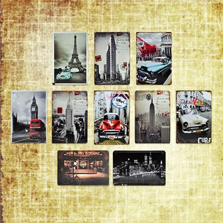 🍀FunGLife🍀[8張發貨][可任選]復古鐵牌復古鐵皮畫loft工業風裝飾工業風壁掛復古工業風壁飾車牌 風景