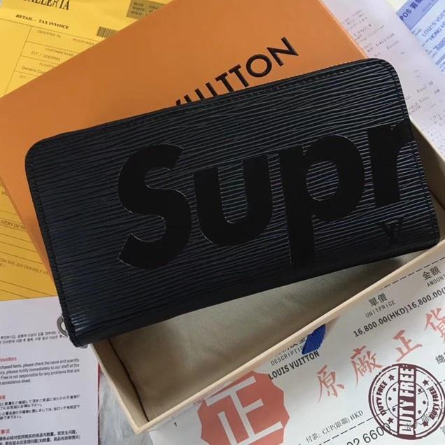 新款代購M67548 M60072 LV與Supreme聯名拉鏈錢夾 LV長夾 supreme絲印水波紋拉鏈長夾男女錢夾