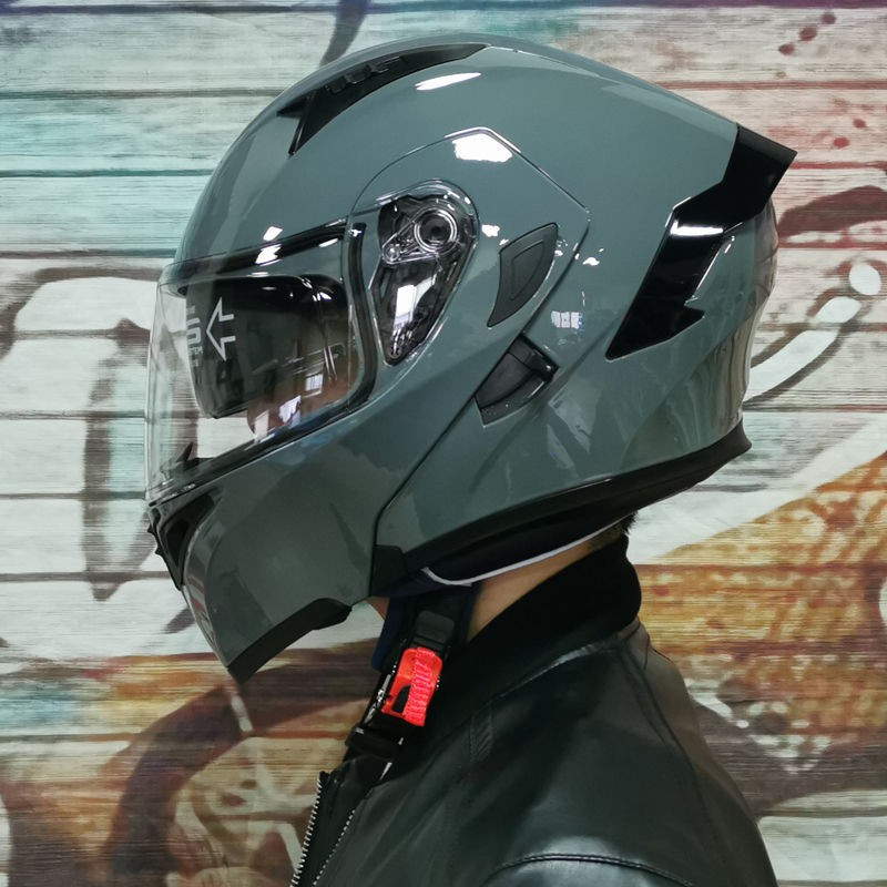熱賣現貨Orz電動摩托車安全帽男揭面盔雙鏡片半盔安全帽個性四季機車頭灰女